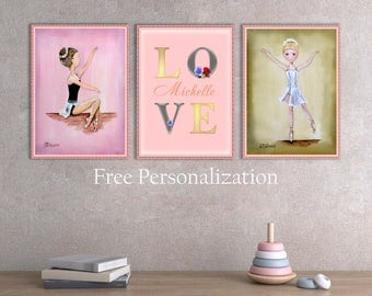Ballet nursery decor, Baby girl gift, Baby shower gift, Girl nursery art, Baby girl art for kids room, Original painting print Custom name