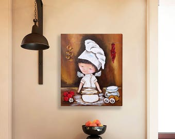 Hand painted kitchen wall art Red kitchen decor Acrylic painting Rustic kitchen gift for Husband Gift for couple Housewarming gift idea