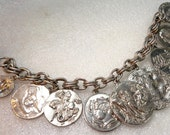 Vintage Medieval Greek Greece Chariot Horses Embossed Profiles Faces Chunky Charm Bracelet
