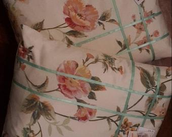Handmade cushions , recycled floral moygashel fabric