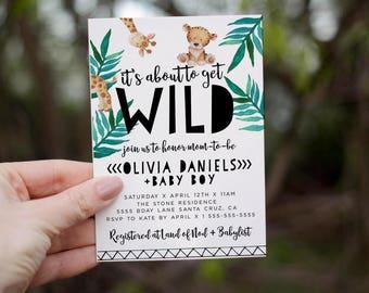 Jungle Baby Shower Invitation, Safari Baby Shower Invite, Gender Neutral invites, Giraffe,  Digital Printed invitations, Boy Baby, girl