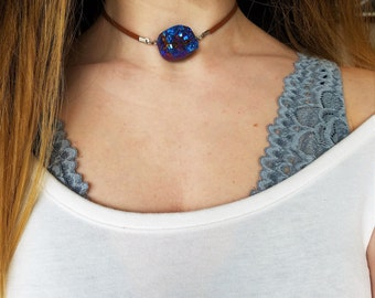 Druzy stone pendant choker necklace