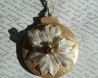 Handmade Christmas Ornament, Gold Christmas Ornament, Poinsetta Christmas Ornament