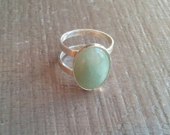 Handmade silver .925 double ring with Aventurine