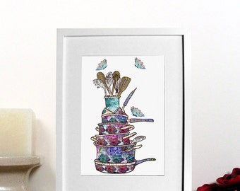 Kitchen wall art, kitchen print - kitchen decor - Pots and pans with butterflies print - Kitchen design - House warming gift - new home gift