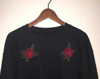 Embroidery Rose Crew Neck Sweater