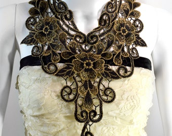 Regal Lace Necklace - Black and Gold - Lace Necklace - Free US Shipping