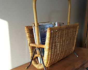 Magazine Rack~Vintage Bamboo and Rattan Magazine Rack~Large Magazine Rack