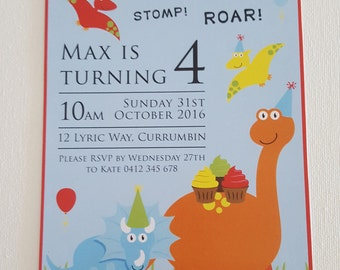 Pack of 10 ~ Dinosaur themed personalised invitations