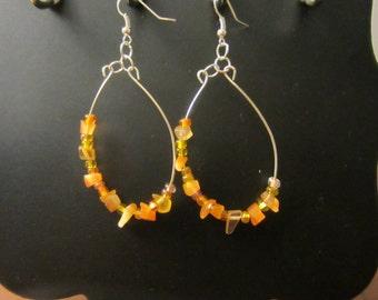 Beautiful Fall Bliss Tangerine Glass Beads Oval Dangle Fashion Jewelry Earrings
