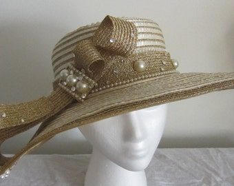 Women's White & gold Wide brim hat with big bow, Church hat, Kentucky Derby hat, Fancy hat, Tea Party hat