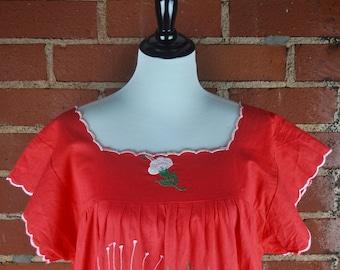 Reddish Orange Nicaraguan Puebla Embroidered Cotton Dress with Large White Flowers