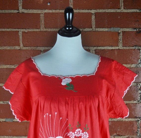 Reddish Orange Nicaraguan Puebla Embroidered Cotton Dress with Large White Flowers