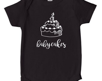 Babycakes - Baby Bodysuit, Nickname, Baby Clothes, Baby Shower Gift - Black With White Print