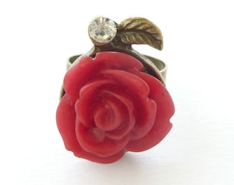 Red Rose Cabochon Diamonte Flower Fairytale Bronze Womens Ring