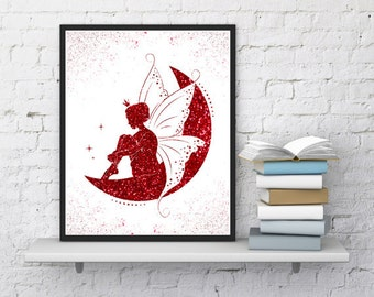 Fairy print, Nursery art, Fairy tale, Red glitter, Girls room decor, Gift for girls, Bed room decor, Moon print, Fairy painting