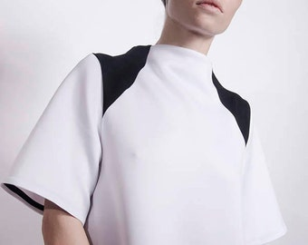 Futuristic Modern Minimalist White Calf-Length Midi Dress