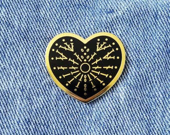 Crafty at Heart - Crochet Knitting Sewing Hard Enamel Pin - Pink, Blue, White, Black, and Gold - Lapel Pin Cloisonné Badge