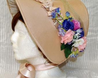 Classic Lolita Bonnet with Flowers//Regency Floral Poke Bonnet//Historical Hair Accessory