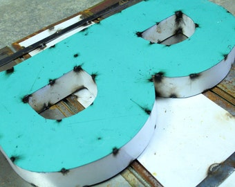 """Industrial Metal Letter B, 20"""" Recycled, Block Letter B Sign, 2-Tone Red & Teal, white sides"""