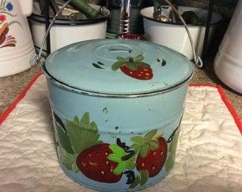 Vintage Pail / lunch box /strawberry pattern