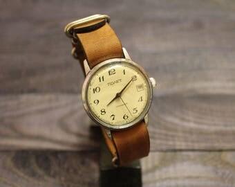 Pobeda Mens Watch - Soviet Watch - Wrist Watches for Men - Blue Watch - Victory Wristwatch - Gift for Men - Vintage Watch for Men zulu strap