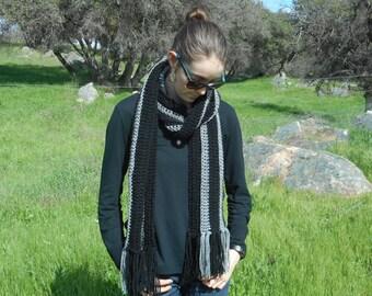 Gray and Black Scarf - Black Scarf - Gray Scarf - Long Scarf - Crochet Scarf - Raiders Scarf - Dark Scarf - Men's Scarf - Women's Scarf