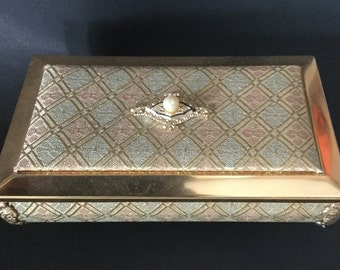 """Vintage Footed Cloth Music Jewelry Box Plays """"A Maidens Prayer"""" Faux Pearl Top"""
