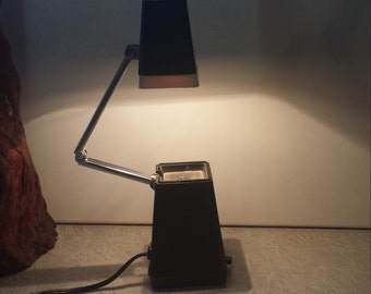 Desk Lamp/Mcm Lamp/Folding Lamp/Space Age Lamp/Atomic Lamp/Black and White Lamp/Mid-Century Lamp/Portable Lamp/Hi-Low Lamp/Desktop Lamp