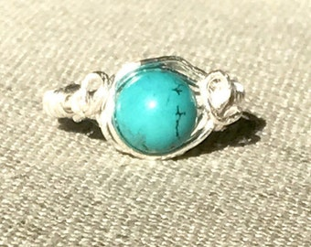 """Boho wire wrapping ring """"turquoise"""", wire wrap ring, boho style,statement"""