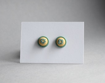 handmade earrings made from polymer clay - floral cream/turquoise
