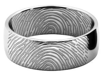 Fingerprint Wedding Band | Unique Wedding Ring | Personalized Ring | Womens Wedding Ring | Mens Wedding Band | Platinum Band | Gold Ring Her