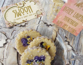 Honey Lavender Shortbread Cookie Gift Box ~ Edible Flowers ~ Wedding Cookies ~ Rustic ~ Wildcrafted