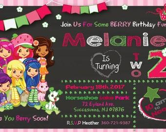 Strawberry Shortcake Invitation,Strawberry Shortcake Party Invitation,Party Invitation,Digital Invitation,Strawberry Party Invitation,
