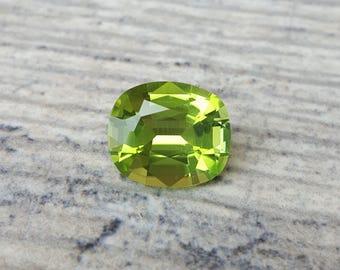 3.91CT carat Minty Peridot 11 x 9 mm Cushion Shaped Loose Gemstone