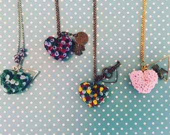 Roses and Hearts  Charm Necklace