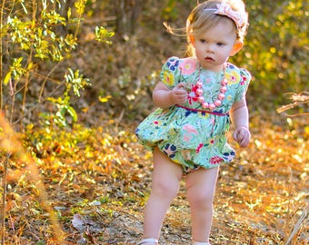 Girls romper - Easter romper for toddler girls - baby romper - girls spring romper - toddler clothes for spring - Easter bubble romper