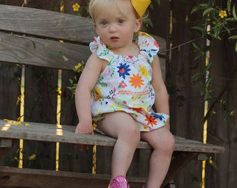 Bubble romper for baby girls - baby girls flutter sleeve romper - girls romper - girls spring romper - spring romper for baby girl