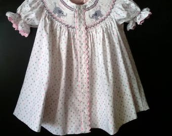 Handsmocked elephant dress with matching panties, size 12 months