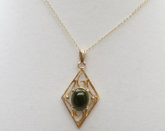 Pretty Nephrite Green Jade set in an Intricate Open Cutwork Diamond Shaped Necklace