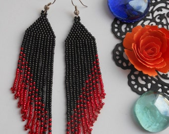 Black beaded earrings long bead earrings  Red Black earrings Fringe beaded earrings Jewelry earrings Long dangle earrings gift for her