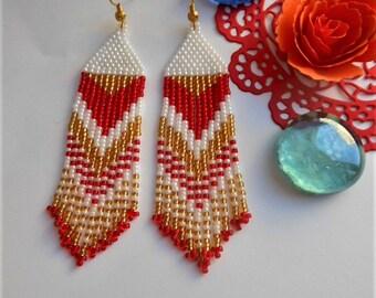 Red earrings Bead earrings long earrings Statement earrings Beaded jewelry Dangle earrings Boho earrings Fringe earrings Wedding earrings