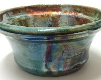Metalic Glaze Raku Pottery Bowl with Green, Copper, Turquoise, Purple Iridescent Colors - Handmade Pottery Gift