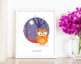 Francis the fox woodland print || wall art || modern nursery decor || fox print