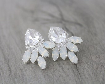 Bridal earrings, Opal Crystal earrings, Wedding jewelry, White opal earrings, Bridesmaid earrings, Stud earrings, Swarovski crystal earrings