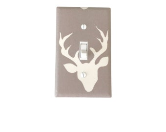 Woodland Deer Light Switch Plate Nursery Switch Cover-Kids Room-Forest Mist Outlet Cover-Nursery Switchplate-Hello Bear Buck Forest Mist
