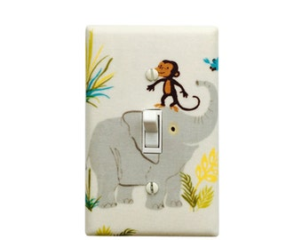Grey Elephant  Light SwitchPlate- Wild Adventure Safari Switch Cover- Outlet Cover- Kids Nursery Decor- Girl Room- Boy Room