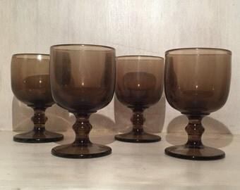Vintage Dark Amber Water Goblets (Set of 4)