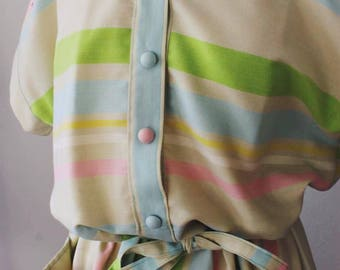Vintage spring summer 1950 pastel stripes dress