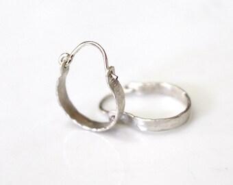 Tiny Hoop Earrings, Solid 925 Sterling Rustic Jewelry, Hoops Earrings, Hammered Silver Hoop Earrings, Hammered Earrings, Small Hoop Earrings